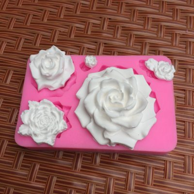 BK1117 3D Flowers Silicone Mold Fondant Gift Cake Decorating Chocolate Cookie Fimo Polymer Clay Resin Baking Molds For Cake
