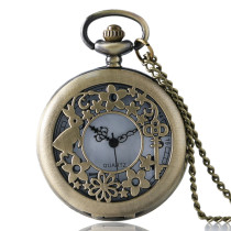 Pocket Watch Flower Hollow Design Quartz Pocket Watch Gift for men