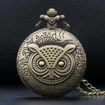 Bronze Retro Owl Pattern Quartz Pocket Watch Men's Gift