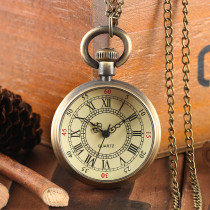 Men's Pocket Watch, Bronze Vintage V and G Pattern Quartz Pocket Watch, Bracelet Chain Gift for Men