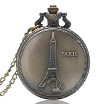 Bronze Pocket Watch PARIS Eiffel Tower Pendant Pocket Watches for Men