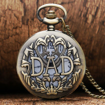 DAD Hollow Design Retro Quartz Pocket Watch with Necklace Chain Gift