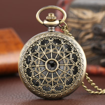 Bronze Vintage Pocket Watch Hollow Necklace Quartz Watches Gift for men