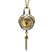 Steampunk Pocket Watch Transparent Glass Ball Pocket Watches for Men Gift