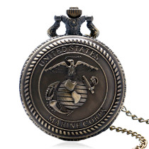 Men's Pocket Watch, United States Marine Corps Force Cover Design Quartz Pocket Watch, Gifts for Men