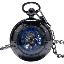 Men's Pocket Watch, Cool Transparent Glass Case Blue Roma Number Mechanical Pocket Watch with Chain, Gift for Men