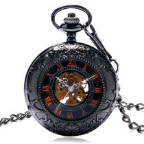Men's Pocket Watch, Transparent Glass Retro Roman Number Mechanical Pocket Watch, Gift for Men