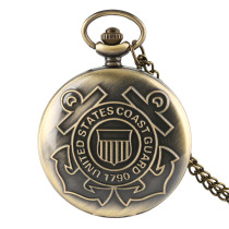 Men's Pocket Watch, United States Coast Guard 1790 Vintage Bronze Quartz Pocket Watch, Gifts for Men