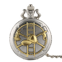 Men's Pocket Watch, Retro Bronze Firefighting Design Golden Pocket Watch, Gifts for Men