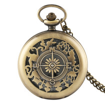 Men's Pocket Watch, Compass Vintage Hollow Design Bronze Quartz Pocket Watch, Gifts for Men