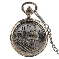 Men's Pocket Watch, Bronze Hollow Out Train Pattern Pocket Watch, Gifts for Men