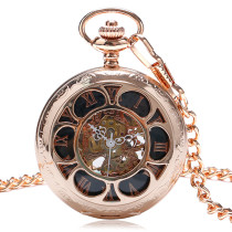 Men's Pocket Watch, Luxury Pumpkin Roman Numerals Dial Skeleton Mechanical Pocket Watch with Chain, Gift for Men