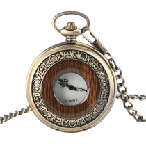 Men's Pocket Watch, Antique Pocket Watch Classic Wood Grained Round Hollow Cover Chain, Gifts for Men