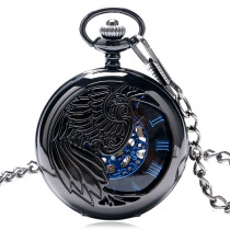 Men's Pocket Watch, Antique Style Skeleton Phoenix Wings Carving Mechanical Necklace Chain, Gift for Men