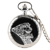 Men's Pocket Watch, Steampunk Train Head Quartz Analog Fob Pocket Watch Pendant Chain, Gifts for Men