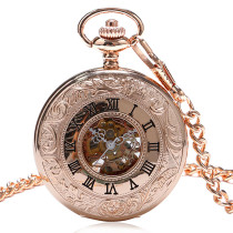 Men's Pocket Watch, New Skeleton Roman Number Dial Mechanical Hand Wind Pocket Watch Chain Gifts, Gift for Men