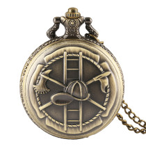 Men's Pocket Watch, Vintage Bronze Firefighting Theme Necklace Pendant Pocket Watch, Gifts for Men