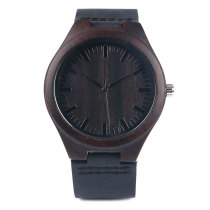 Wooden Watch, Casual Nature Wood Bamboo Genuine Leather Band Strap, Bamboo Wristwatch Bracelet