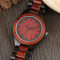 Men Wood Watch, Quartz Red Walnut Wooden Watch, Luxury Casual Quartz Sport Watches