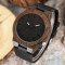 Ebony Nature Hand-made Wrist Watch, Design Men Quartz Wristwatch, Black Genuine Leather Band Bamboo Wristwatch Bracelet