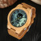 Wooden Watches, Cool Skull Luminous Roman Numbers Dial Wood Quartz Watch, Bamboo Wristwatch Bracelet
