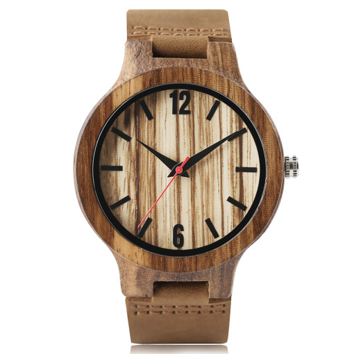 Creative Wooden Watch, Men Nature Genuine Leather Band Bamboo Quartz Wristwatch, Bamboo Wristwatch Bracelet