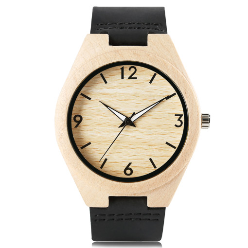 Trendy Bamboo Wristwatches, Unisex Modern White Pointer Black Strap Bangle, Bamboo Wristwatch Bracelet