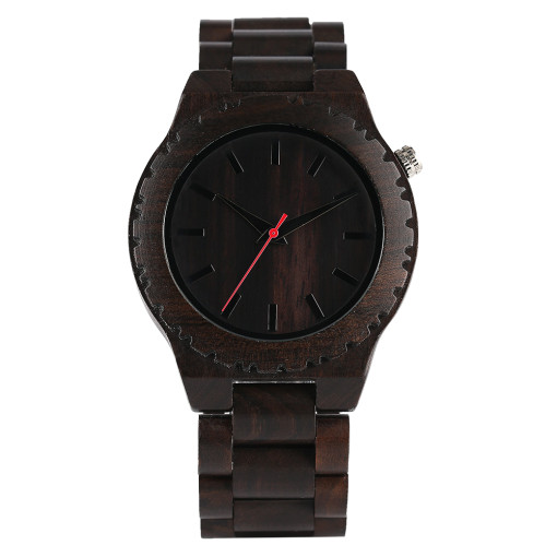Full Ebony Wooden Watch, Men Nature Wood Creative Watches, Women Quartz Modern Bamboo Wristwatch Bracelet