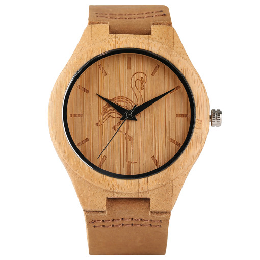 Casual Wooden Watch, Lovely Animal Carving Dial Analog Bamboo Quartz Wristwatch, Bamboo Wristwatch Bracelet