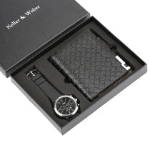 Top Brand Luxury Christmas Gift Set for Men, Casual Sport Quartz Wrist Watch for Boy Boyfriend, Zipper Design Wallet for Dad Husband