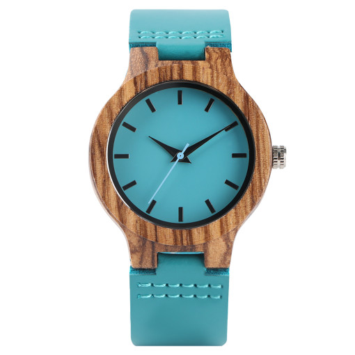 Unique Design Lady Wrist Watch, Zebra Wooden Blue Color Genuine Leather Band Wrist Watch, Bamboo Wristwatch Bracelet