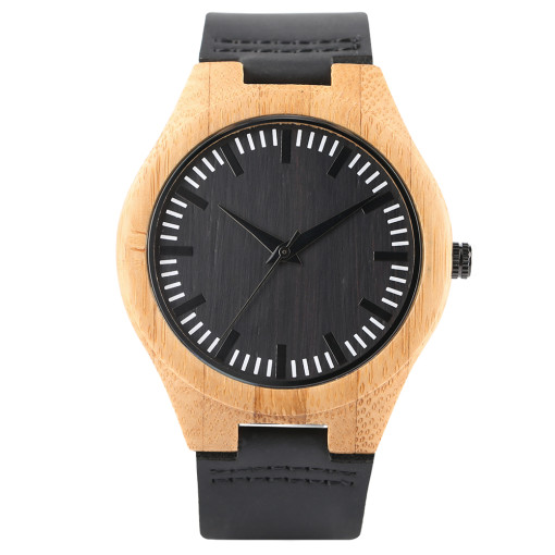 Men Wood Watches, Creative Black Natural Bamboo Handmade Quartz Wristwatch, Bamboo Wristwatch Bracelet