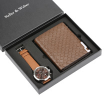 Fashion Christmas Gift Set for Men, Luxury Quartz Wrist Watch for Boy Boyfriend, Classic Wallet for Dad Husband