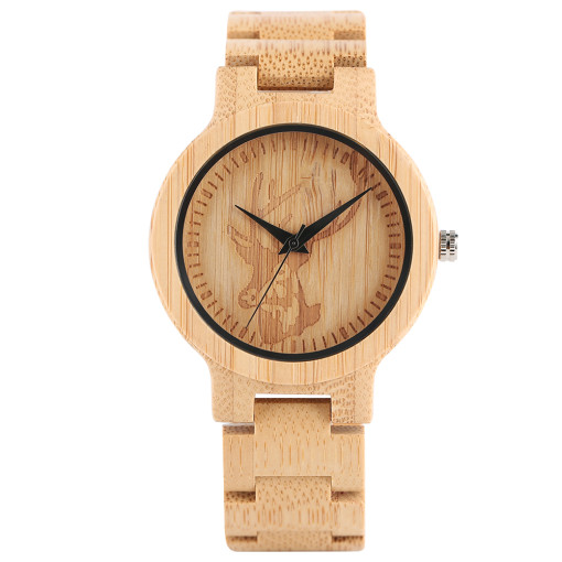 Creative Simple Nature Quartz WristWatch, Deer Carving Analog Handmade Full Wood Watch, Bamboo Wristwatch Bracelet