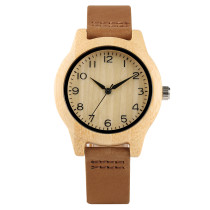 New Nature Bamboo Women Watches, Arabic Numerals Dial Minimalist Ladies Watch, Bamboo Wristwatch Bracelet