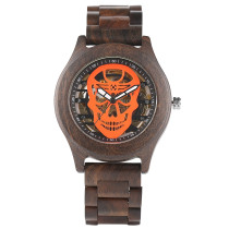 Mens Automatic Wood Watches, Skeleton Skull Dial Wooden Self Winding Wristwatch, Bamboo Wristwatch Bracelet