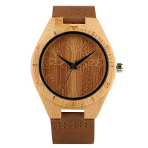 Wooden Watch, New Carving Analog Nature Life Tree Wristwatch, Genuine Bamboo Quartz Trendy Bamboo Wristwatch Bracelet