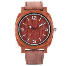 Men's Bamboo Wooden Watches, Outdoor Nature Quartz Wrist Watch, Leather Band Bamboo Wristwatch Bracelet