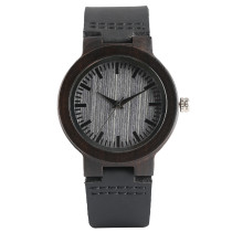 Simple Bamboo Wood Watch, Men Women Genuine Leather Band Creative Quartz Watches, Bamboo Wristwatch Bracelet