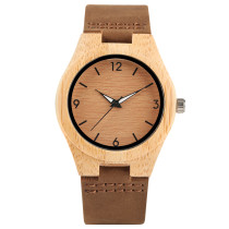 Creative Wooden Watches, Women Genuine Leather Band Bamboo Case Lady Wrist Watch Wooden, Bamboo Wristwatch Bracelet