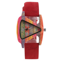 Wooden Watch, Unique Triangle Hollow Wood Watch Creative Leather Watch, Bamboo Wristwatch Bracelet