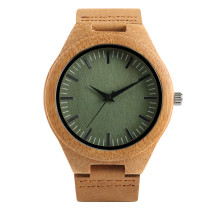 Elegant Bamboo Men's Wristwatch, Leather Strap Bamboo Watch for Women Men, Casual Quartz Bamboo Wristwatch