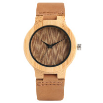 Exquisite Ladiies Watches, Natural Bamboo Clock, Women Genuine Leather Band Bamboo Wristwatch Bracelet