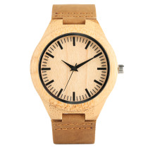 Men's Bamboo Wristwatch, Handmade Leather Strap Bamboo Watch for Women Men, Casual Quartz Bamboo Wristwatch