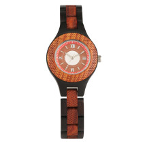 Vintage Wood Watch, Full Wood with Rome Number Dial Wristwatch for Men Women, Casual Business Wooden Quartz Watch