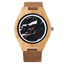 Watch for Men Women, Leather Band Strap Pin Buckle Wooden Bamboo Wrist Watch, Bamboo Wooden Watch for Men Women