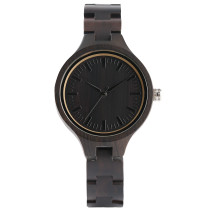Full Natural Ebony Wood, Women Watch Hand-made Timber Slim Wristband Quartz Clock, Bamboo Wristwatch Bracelet