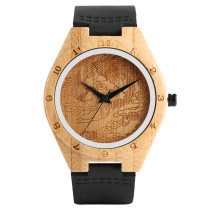 Bamboo Watches, Fashion Engraving Phoenix Dial Quartz Watch, Analog Leather Strap Bamboo Handmade Bamboo Wristwatch Bracelet