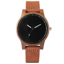 Simple Men's Wood Watch, Wood Case Watch Leather Strap Wristwatch for Women Men, Casual Quartz Wristwatch