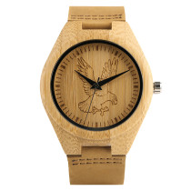 Nature Bamboo Watch, Carving Hawk Horse Pattern Quartz Men's WristWatch, Bamboo Wristwatch Bracelet